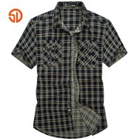 Wholesale Care Sd - Wholesale-SD Brand 2016 Fashion Plaid Casual Shirt For Men Short 100% Cotton Easy Care High Quality Outdoor Sport Shirts camisa masculina