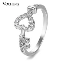 Wholesale American Indian Key Ring - VOCHENG Heart Key Engagement Ring Filled CZ Stone 2 Sizes Gold Platinum Plated Copper Metal Women Jewelry VR-148