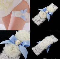 Wholesale Lace Garter Stockings - Exquisite Full Lace Bridal Garters for Bride Lace Wedding Garters Free Shipping White Ivory Cheap Wedding Leg Garters In Stock CPA587
