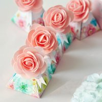 Wholesale Pink Candy Favors - 100 pcs Creative Pink Gift Box Flower Style Triangular Pyramid Candy Boxes Wedding Favors Bomboniera Party Supplies