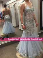 Wholesale Skirts Formal Dance - 2k16 Sparkly Prom Dresses Dusty Pale Blue Tulle Ruffle Skirt Charming Fashion Homecoming Girls Formal Dance Wear for 2016 Evening Gowns Sale