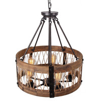 Wholesale Round Wooden Chandelier with Clear Glass Shade Edison Bulb Pendant Lighting Fixtures Black Color Iron Ceiling Lamp for Living Room
