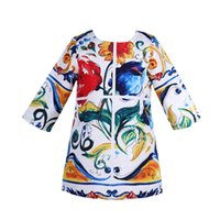 Wholesale Halloween Costume Children Girl - kinder jurken Girls Suumer Dress 2016 Brand Majolica Flower Children Dress Kids Clothes Half Sleeve Girls Costume Princess Dress