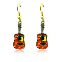 Wholesale fashion guitar pendant resale online - Fashion Charms Earrings Stainless Steel Hooks Dangle Mix Color Retro Guitar Pendants Earrings For Women Jewelry