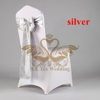 Wholesale Color Chair Cover - Cheap White Banquet Wedding Spandex Chair Cover With Satin Chair Sash \ Chair Bow Silver Color