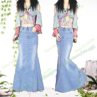 Wholesale Long Jeans Skirt Xl - Mopping the floor Fashion Elegant Mermaid Fishtail Long Denim Skirts   Casual Vintage Split Stretch Jeans Maxi Skirt S,M,L,XL