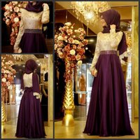 Wholesale two piece lace top prom dress - Muslim Evening Dress With Long Sleeves Shiny Beading Waist Top Lace A-line Chiffon Burgundy Arabic Long Hijab Evening Dresses for Party