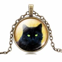 Wholesale Necklaces For Pictures - LIEBE ENGEL Unique Necklace Glass Cabochon Silver Bronze Chain Necklace Black Cat Picture Vintage Pendant Necklace For Women