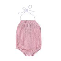 Wholesale Newborn Clothes Sale - Mikrdoo Hot Sale Newborn Baby Rompers 2017 Summer Pink Lace Toddler Kids Girls Strap Romper Halter Jumpsuit Sunsuit Child Clothes Wholesale