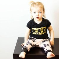 Wholesale Gold Metallic Shorts - Multi styles Mix 2016 baby sets baby girl flowers gold Toddler clothes black T shirts + pant sets 2pcs infants wholesale fashion style gifts