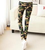 armee muster jeans großhandel-Armee-Grün-dünne Jeans-Art- und Weiseweinlese-Bindungs-Färbungs-Muster-dünne geeignete Frauen-Ausdehnungs-Jeans geben Verschiffen frei