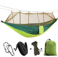 Wholesale Manufacturers outdoor drop umbrella hammock with mosquito nets super light portable double army green camping air tents