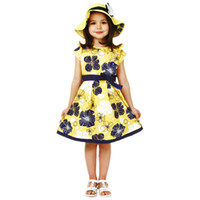Wholesale Kids Clothes For Grils - Gril's dresses short sleeve children's clothes summer dress for kids gril 1-8 baby clothing fashion prints dresses bow dress for grils