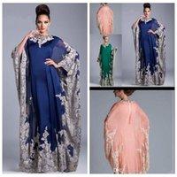 Wholesale plus size evening dresses dubai - Plus Size Vintage Arabic Kaftan Royal Blue Lace Appliques Mother Dresses 2017 Abaya Dubai Chiffon Mother Of The Bride Formal Evening Gowns