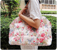Wholesale Open Distance - Travel bag female full waterproof canvas Korean flower short distance travel large capacity hand Portable lovely M064 big size 36X46X32