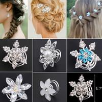 завитки для завивки волос оптовых-Wholesale-6pcs Fashion Bridal Wedding Prom Crystal Pearl Flower Hair pins Swirl Spiral Twist Jewelry Free ship