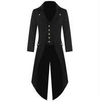 ingrosso uomini del costume del batman-Cappotto da uomo Moda Steampunk Vintage Fracotto Giacca Gothic Victorian Frock Coat Uomo Batman Costume uniforme S a 4XL Taglia Plus