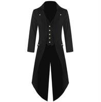 Wholesale Gothic Victorian Fashion - Men's Coat Fashion Steampunk Vintage Tailcoat Jacket Gothic Victorian Frock Coat Men's Batman Uniform Costume S to 4XL Size Plus