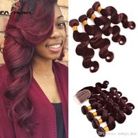 Wholesale Real Hair Extensions 24 Inches - Bright Burgundy 100% Brazilian Virgin Hair Weave Closure With 4 Bundles Body Wave 99J Red Wine Real Human Hair Extensions With Lace Closure