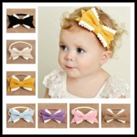 Wholesale Girls Bowties - Wholesales Nylon Bowties 8 Colors Exquisite Hair Bows Kids Boutique Hair Accessories Baby Girls Headbands as Birthday Gifts