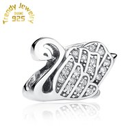 Wholesale Pave Charm Cheap - Fit Bracelets Charms Beads S925 Sterling Silver Jewelry Wholesale Outlet Cheap Pave Swan European DIY finding For Women 5pcs lot
