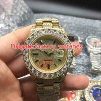 Wholesale Automatic Watch Big Case - Big diamonds bezel big size 43mm wrist watch luxury brand hip hop rappers full iced out gold case gold face dial automatic watches