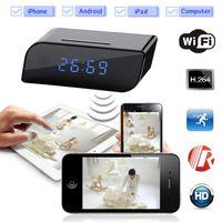 Wholesale Network Web Cams - Wireless WIFI IP 720P HD Clock Spy Hidden Camera IR Security Network Web Cam video recorder DV DVR Camcorder Motion Detective