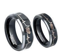 Wholesale Tungsten Couples Wedding Rings - 6mm 8mm Tungsten Carbide Couple Wedding Rings Etched EKG Heart Beat Men Women Anniversary Gift Size 5-13