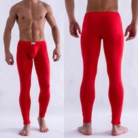 Wholesale-2016 Men Solid Farbe Unterhose Long Johns Hose Thermische Low Rise Long Unterwäsche M L XL