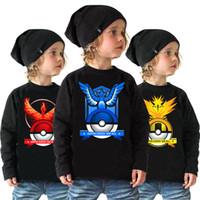 Wholesale Tshirts For Kids Boys - 3Colors 2016 Hot Poke Kids pikachu Boys long sleeve shirt Cartoon Poke Long Sleeve TShirts For Baby Kids Casual Clothes I201672103