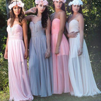 Wholesale Cheap Long Prom Dresses Wholesale - Sexy Long Cheap Bridesmaid Dresses for Wedding Party Floor Length Chiffon Pleated Beautiful Prom Gowns for Girls