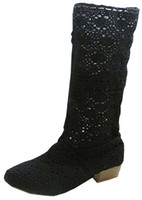 Wholesale summer knitted high heel boots - Spring and summer fashion boots, breathable hole female boots, high-leg hole shoes,knitted boots 34-43 3 colors