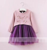 Wholesale Pink Pearl Sweaters - 2017 Autumn Girls Clothing Sets Bow pearl Long Sleeve sweater+Gauze Dress Princess Outfits Children Clothing 2-7T 318409