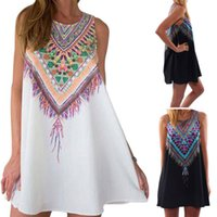 Wholesale Wholesale Chiffon Maxi Floral Dress - Women Ladies Summer Sleeveless Floral Tribal Print Beach Sun Dress Vestidos Boho Casual Party Maxi Shirts Dresses