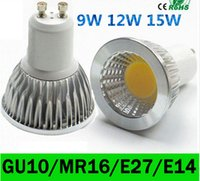 12w e26 llevó la luz del punto al por mayor-ce ul saa Regulable E27 E14 GU10 MR16 Bombillas LED Luces cob 9W 12W 15W Lámpara de bombillas LED Spot AC 110-240V / 12V