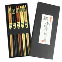 Wholesale Quality Wooden Chopsticks - Wholesale Aoosy High Quality Pointed Circular Head Wooden Chopsticks 5 Kinds of Colors to Eat Sushi Rice Tableware Set