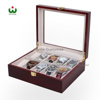 Wholesale Storage Box Case Wood - 10 Grids slots Senior Wood Paint watches Display Case Package Wholesale grid watch display box 10 grid removable storage box
