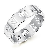 Wholesale Mani Padme - LSE JEWELRY Om Mani Padme Hum Anniversary Wedding Rings in Stainless Steel Mens Spiritual - Silver, Gold