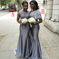 Wholesale Taffeta Convertible Dresses - Two Styles Silver Gray Bridesmaid Dresses Mermaid Long Ruched Maid of Honor Satin Party Dresses Custom Made Evening Gowns Free Shipping