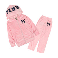 Wholesale Velvet Suit Tracksuit - pink dark blue girls velvet tracksuit baby girl jogging suit kids velvet hoodie pants suit set embroidered tracksuits free shipping A066