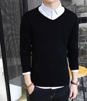 Wholesale Thin White V Neck Sweater - 2017 Autumn winter New style men Cultivate one's morality v-neck Long sleeve sweater Set head knit size S-XXXL