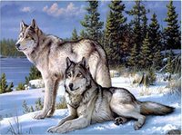 Wholesale Hand Made Cross Stitch Embroidery - mural cross stitch Kits mosaic Full Diamond Hand made Needlework Crafts home Decor embroidery diy 5d diamond painting Snow wolf