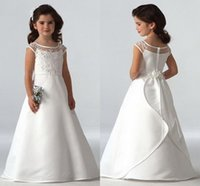 Wholesale Girl Caps Hand Made - 2016 Simple Flower Girls Dresses For Weddings Cap Sleeves Satin Floor Length Custom Made Aline First Communion Dresses For Girls