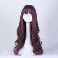 Wholesale long wave costumes hair - 80cm Cosplay Fashion Wig Long Curly Light Blonde Wig Synthetic Heat Resistant Hair Young women Costume party Wigs