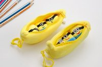 Wholesale Gift Bag Hooks - Kawaii 1X NEW SMALL 13CM Yellow Minion Pea Beans DOLL Plush Stuffed Key Hook TOY & BAG Pendant TOY BAG ; Chain TOY Gift DOLL