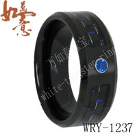 Wholesale Tungsten Diamond Rings Men - Black and Blue Carbon Fiber and Blue Diamond Inlay Black Tungsten Ring Bands for Men with Masonic Engraving WRY-1237 8mm width