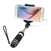 Wholesale carbon fiber selfie monopod online - New cm Monopod Audio Cable Wired Selfie Stick Extendable Sefie Monopod for iPhone IOS for Samsung Android