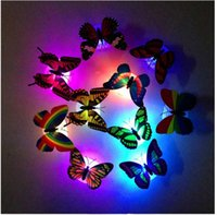 Wholesale Sticker Plastic Flower - sticker wall Colorful LED night light led paste flowers butterfly sucker night light creative energy-saving decorative wall sconce ak079