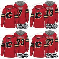 Wholesale T 13 - 100th Calgary Flames Jerseys 19 Matthew Tkachuk 7 T. J. Brodie 23 Sean Monahan 13 Johnny Gaudreau Hoodies Jerseys Sweatshirts