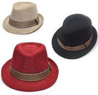 мальчики джазовые шляпы оптовых-Новые дети мальчики девочки соломенная шляпа мода Фанки соломы вязаная шапка Джаз шляпа детские аксессуары бесплатная доставка C795